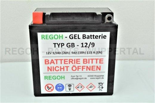 REGOH Gel Batterie Baugleich GT9L-BS Schneefräse Motorrad Quad