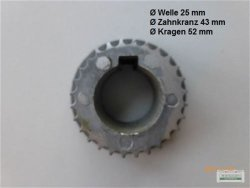 Zahnrad Zahnriemenritzel Welle Ø 25 mm Loncin Motor 9-11 PS