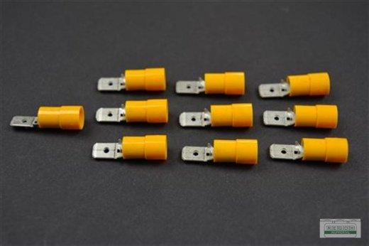 10 x Flachsteckhülse Kabelschuh Steckkabelschuh 6,3x0,8 gelb