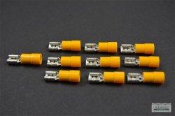 10 x Flachstecker Kabelschuh Steckkabelschuh 6,3x0,8 gelb