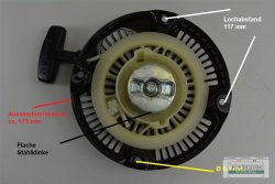 Seilzugstarter Handstarter passend Robin EY20 Flache Stahlklinke